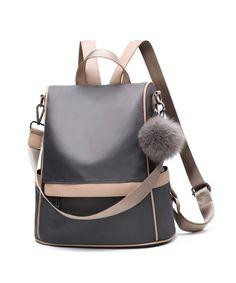 0cd3f21150cf Women Backpack Purse Nylon Anti-theft Fashion Casual Lightweight Travel  School Shoulder Bag - Grey - C718HG5KECS