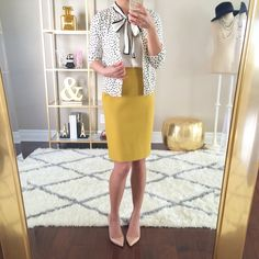 Work outfit: polka dot cardigan, loft tipped bow blouse, J.Crew no.2 double serge chartreuse will pencil skirt /// Click the following link to see outfit details and photos: http://www.stylishpetite.com/2015/03/instagram-lately-daily-outifts.html