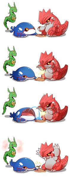 Da'ww...Groudon and Kyogre working together. And Lil' Ray in the background. (/^▽^)/ kawaii!