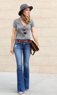 Moda it - Look: T-shirt + Calça Flare | Moda it
