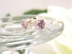 Pink Sapphire CZ Post Earrings Sterling Silver Stud Earrings
