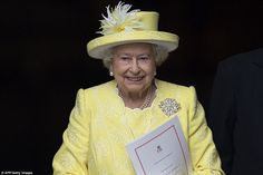 It's my birthday! The Queen, looking resplendent in primrose yellow, was all smiles as she left the ceremony to mark her 90th birthday at St Paul's Cathedral today where the Archbishop of Canterbury praised her dedication and service to the nation in a heartwarming sermon