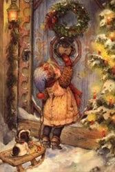 animated christmas little girl gif Christmas Scenes, Noel Christmas, Victorian Christmas, Vintage Christmas Cards, Christmas Pictures, Winter Christmas, Christmas Decoupage, Vintage Cards, Illustration Noel