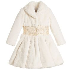 Quis Quis - Girls Ivory Fur Coat | Childrensalon