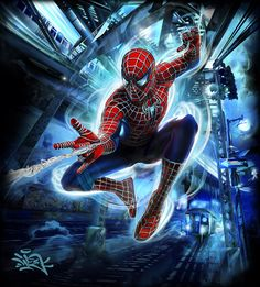 Spiderman Illustration: Limited Edition figure (package/poster art) for Comic Con San Diego Brian Life Sonic Fan Characters, Marvel Characters, Marvel Heroes, Marvel Dc, Spiderman Drawing, Spiderman Art, Raimi Spiderman, Spider Man Trilogy, Black Spiderman
