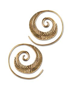Leaf Spiral Earrings | Hoop Earrings | Hippie Earrings | Soul Flower