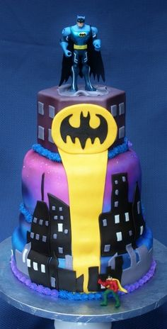 Batman Cake--Zeke says he doesn't care if the figures are action figures, but he wants the rest fondant!