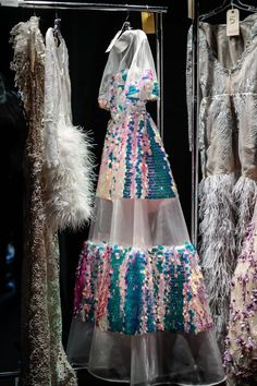 Sheer gown with jumbo irridescent sequin on structured invisible mesh Prepare to dazzle in this iridescent dress as the sequins catch light and look like something out of a dream. The high neck and low back are balanced by a full skirt that shows some leg Look Fashion, Daily Fashion, High Fashion, Fashion Show, Womens Fashion, Fashion Tips, Korean Fashion, Classy Fashion, Fashion Hacks