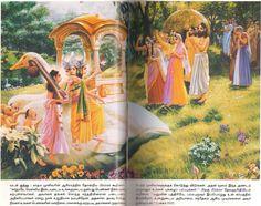 SAGE KARDAMAR PRAJAPATHI & WIFE DEVAHUTI WITH 9 DAUGHTERS GREETED BY BRAHMA .