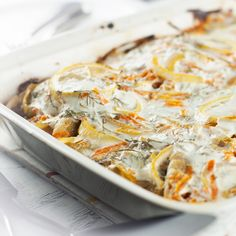 """""""White Fish Bake"""" - this recipe is super easy and the yogurt is AWESOME on it. We added potatoes and mushrooms to the bake: would do again! Just would prefer to squeeze the limones, rather than slice them as our fish was slightly bitter from the peel."""