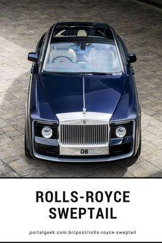 """Sweptail é um novo Rolls Royce revelado em 2017 que foi encomendado em 2013 por um comprador anônimo. A obra de arte custa cerca de 13 milhões de dólares. O nome sweptail vem das traseiras """"calda varrida"""", ou """"swep tail"""" que foram uma assinatura dos Rolls Royce do início do século 20."""