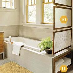 Room divider Framed frosted Plexiglas panels linked by steel cables create a… Upstairs Bathrooms, Laundry In Bathroom, Tile Around Tub, Room Deviders, Diy Screen Door, Hardwood Plywood, Diy Room Divider, Home Upgrades, Home Accents