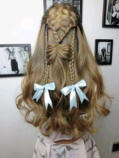 creative braid for this long curly hair with bow ribbon