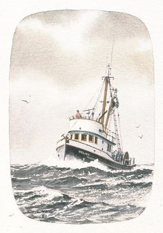 """""""RELIEF salmon seiner"""" - Watercolor, in Fishing Boat Paintings Informations About """"RELIEF salmon sei Gone Fishing Cake, Fishing Gifts, Fishing Rod, Fishing Worms, Fishing Vest, Sea Fishing, Fishing Tackle, Boat Drawing, Ship Drawing"""