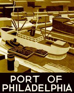 WPA 1937 Port of Philadelphia vintage poster image 81/2 x 11 reproduction