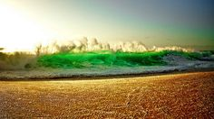 As the sun was setting, Croman captured this mesmerizing green wave at Keiki Beach on Oahu�s famed North Shore during a very big swell.