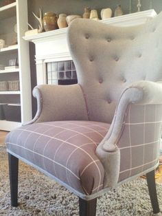 gray wingback chair