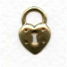 Steampunk Inspired Heart Lock Oxidized Brass 17mm