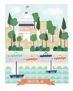 Madison Wisconsin - 11x14 print - city illustration, $20 via confettielove Etsy