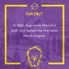 In Augustine Mouchot built and tested the first solar steam engine. Solar Solutions, Central Coast, Steam Engine, Renewable Energy, Newcastle, Fun Facts, Engineering, Mechanical Engineering, Funny Facts