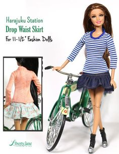 Liberty Jane Harajuku Station Skirt Doll Clothes Pattern for 11-1/2 inch Fashion Dolls | Pixie Faire