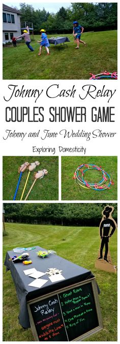 Very fun game for a couples wedding shower, or any party. Perfect for rustic or country themed parties. Johnny Cash Relay Couples Shower Game. Wedding / Party / games / couples shower / wedding shower / johnny cash / cowboy party / western party / party theme / johnny and june / love story | #weddingideas | #couplesshower | #weddingshower | #partygames | #games