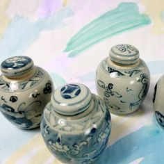 Blue and White Ming Ginger Pots S/4