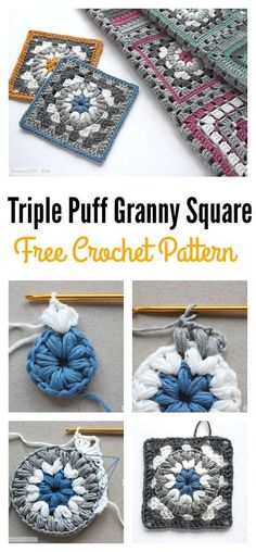 Crochet Granny Square Patterns Triple Puff Granny Square Motif Free Crochet Pattern - The Puff Stitch is family of the Bobble Stitch and the popcorn Stitch. Here are some beautiful Puff Stitch Patterns you can use to create awesome items. Bag Crochet, Crochet Diy, Crochet Motifs, Crochet Blocks, Granny Square Crochet Pattern, Crochet Squares, Love Crochet, Crochet Blanket Patterns, Crochet Crafts