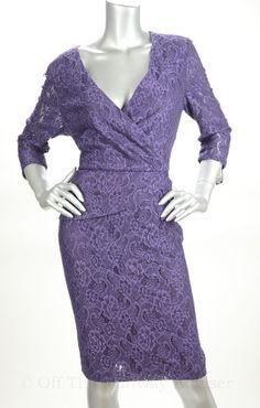 RETAIL $149 Tahari ASL Purple Lace Crossover Neckline Dress ~ Nice