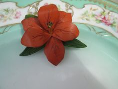 Vintage tooled leather Orchid Flower Brooch by Holliezhobbiez, $8.95