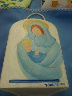 Mãe e menino pintado por Teresa
