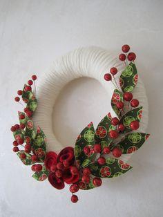 SALE Holiday yarn wreath  fabric holly leaves