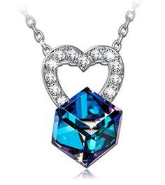 "52.55$  Buy here - http://viotw.justgood.pw/vig/item.php?t=pz0r1l38705 - Women Fashion Jewelry Pendant Necklace Color Blue ""Loving Frozen World"" Swarovsk 52.55$"