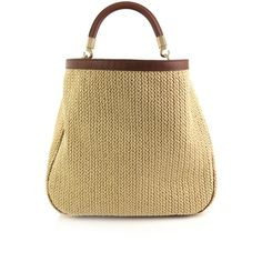 Yves Saint Laurent Roady straw and leather bag ($653) ❤ liked on Polyvore