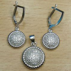 Micro Setting White CZ 925 Sterling Silver Circle Cluster Jewelry Set