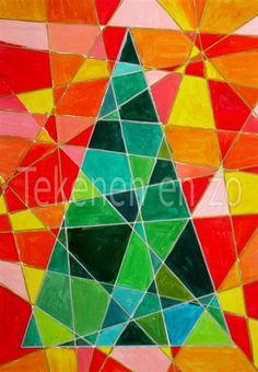 Teken een driehoek in het midden van het papier. Trek met een liniaal schuine strepen over het papier. Verf de boom met groentinten (mengen)