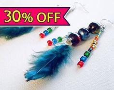 30 OFF SALE Feather earring Dangle earring by CervelleDoiseau