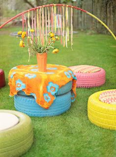 10 Colorful Garden Crafts to Make from Old Tires 10 Tire Playground, Outdoor Playground, Garden Crafts, Garden Projects, Diy Projects, Tire Craft, Painted Tires, Tire Furniture, Outdoor Furniture