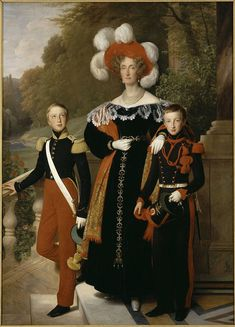 Queen Marie Amélie with her youngest sons, the Dukes of Montpensier and Aumale by Louis Hersent (1835, Versailles) - Marie-Amélie de Bourbon-Siciles — Wikimedia Commons