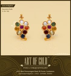Antique #Navaratna Studs by Art of Gold Jewellery, Coimbatore. Click to enquire.