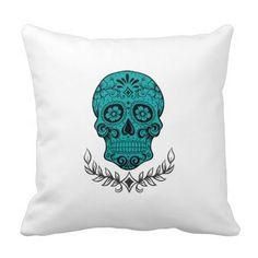 Reversible Teal Skull/Checkerboard Pillow