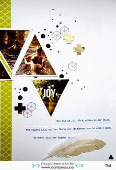 Komm Spielen Challenge und Layout von Britta für www.danipeuss.de | Mach viel aus eins: Wählt euch ein Foto, druckt es in Übergröße aus (meines hatte die Größe DIN A5) und zerteilt es in mehrere geometrische Formen. Verscrappt diese Formen in einem Layout!  #KommSpielen