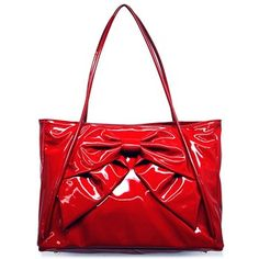 "Valentino ""CWB00056"" Red Patent Leather Tote Handbag"