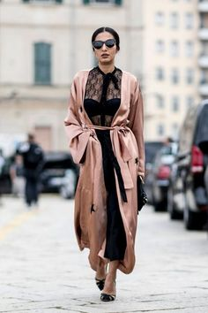 Soft pink satin duster is the perfect blend of feminine and badass.