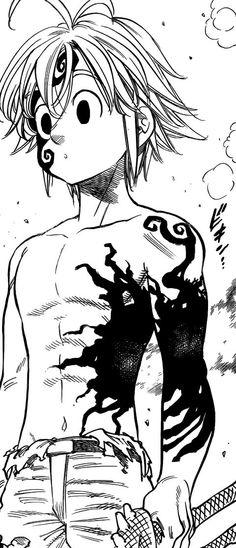 Meliodas moving the black mark to protect himself from Helbram's attack Otaku Anime, All Anime, Anime Guys, Manga Anime, Anime Art, Seven Deadly Sins Anime, 7 Deadly Sins, Kawaii Anime, Seven Deady Sins