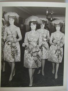 Vintage 60s Wedding Photo BW 8x10 Bridesmaids Bridal Party Flowers Dresses Dress