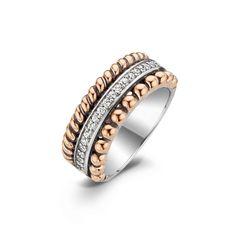 Ti Sento ring 1836ZR | Da Noi Collection 2014-2015  Een zilveren ring van ti sento Milano met drie verschillende patronen. De middelste baan van de ring is gezet met zirkonia.