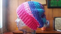 Simply Cute Hat- adjustable for differnet sizes Caron Cakes Mixed Berries