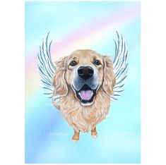 Golden Retriever Angel Golden Retriever Art Print by ArtbyWeeze Golden Retriever Art, Pet Loss Gifts, Dog Memorial, Art Series, Pet Memorials, Dog Portraits, Custom Art, Dog Art, I Love Dogs