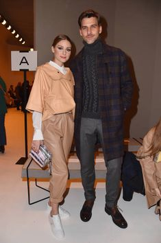 Olivia Palermo and Johannes Huebl attend the Tod's show during Milan Fashion Week Fall/Winter 2018/19 on February 23 2018 in Milan Italy
